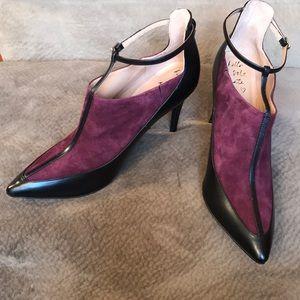 Banana Republic suede bootie ankle t strap purple